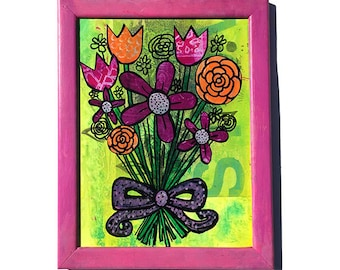 Flower Bouquet - Original Mixed Media Collage Art, flowers artwork, floral lover gift, bright green, pink, purple, girls room wall art decor