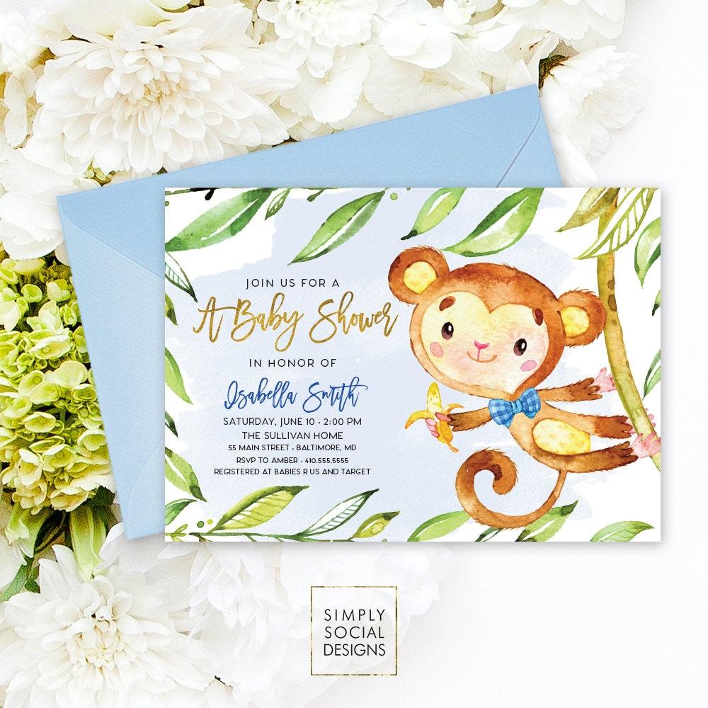 Monkey Baby Shower Invitation - Jungle Leaves Blue Boho It\'s A Boy ...