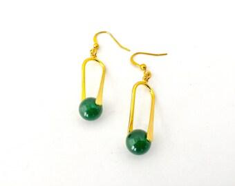 Gold earrings, bride, bridemaid,  teardrop earrings, gold plated earrings, green earrings, green jade, dangle earrings, drop earrings