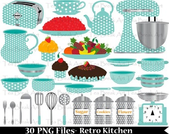 Blue Retro Kitchen-Digital Clip Art Graphics for Personal/Commercial Use (056)