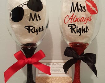 Mr Right & Mrs Always Right Glittered Wine Glass His and Hers Gift set for Wedding or Anniversary