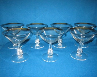 Vintage Mid Century Lot of 7 Crystal Martini Cocktail Goblet Stemware with Silver Rims