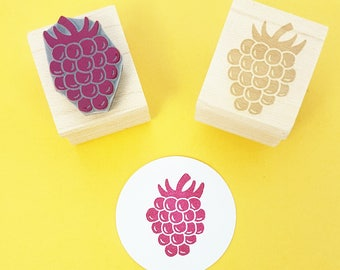 Raspberry Rubber stamp - Juicy Raspberry Rubber Stamper - Fruit - Gift For Foodie - Dessert - Gift for Baker - Jam Jar - Food Rubber Stamp