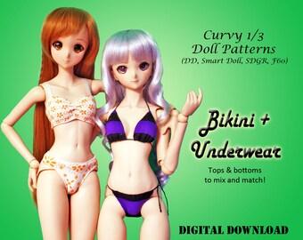 Underwear & Bikinis lingerie bra panties sewing clothes pattern for Curvy 1/3 60cm BJD: SD, SDGR, Dollfie Dream, Smart Doll, dd