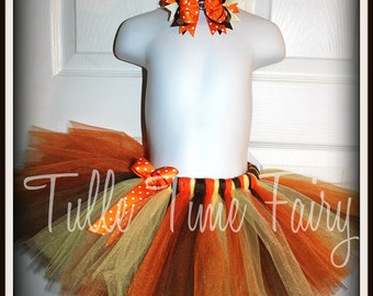 Autumn Thanksgiving fall tutu and bow included 10 12 14