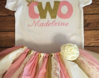 Pink, Ivory, and Gold Birthday Tutu Outfit With Script Name Embroidery