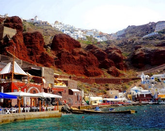 Santorini Print, Greece Photography, Oia Photo, Greek Travel Photography, Fine Art Prints, Wall Art, Aegean Sea, Lava Cliffs - Amoudi Bay