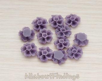 CBC138-PU // Purple Colored Morning Glory Flower Flat Back Cabochon, 6 Pc