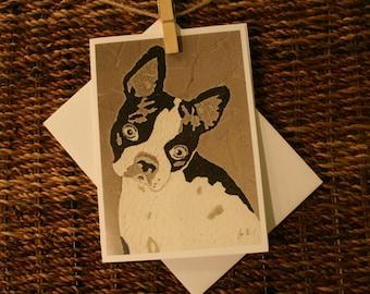 Boston Terrier 5x7 Blank Notecard