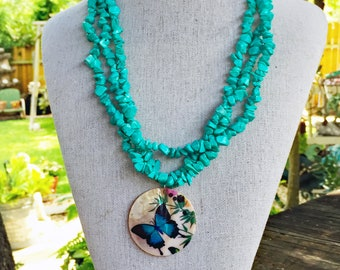 Hand Painted Butterfly and Turquoise Necklace