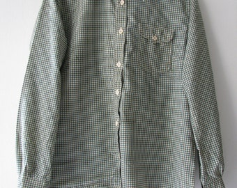 60s Houndstooth Dress Shirt by Pierre Pascall, Men's S-M  // Vintage Green Checkered Straight Bottom Shirt