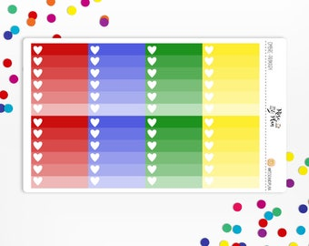Planner Stickers- Primary Ombre Checklists- red, blue, green, yellow