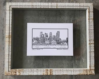 Minneapolis Minnesota Skyline - Elle Karel Illustration