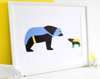 You're My Hero / A3 Print / Nursery Print / Children's Room / Father's Day Gift / Daddy and Me / Mummy and Me