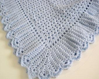 Crocheted Baby Blanket, Baby Boy Afghan, Baby Girl Blanket, Newborn Baby Afghan