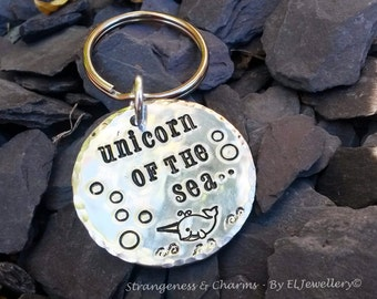 Hand Stamped Narwhal 'Unicorn of the Sea' Aluminium Disc Keyring, Keychain, Narwhals, Fantasy, Unique Design, Nautical Theme, Narwhale, Sea.
