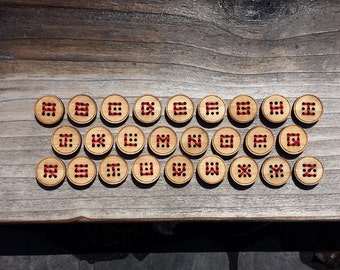"Four Nine Hole Bamboo Buttons (3/4"", 1"" and 1 1/4"") Wood Button"