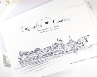 Savannah Skyline Save the Dates, Savannah Save the Date, Savannah Wedding, Save the Date Cards, STD, Georgia Wedding  (set of 25 cards)