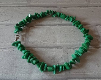 Beautiful, hand crafted, artisan, rustic, organic, jade Green stone statement necklace.