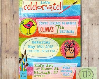 Art Party Birthday Party Invitation, Birthday Invitation
