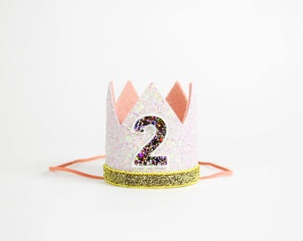 2nd Birthday Crown | 2nd Birthday Outfit Girl | Second Birthday Outfit Girl | Birthday Hat | Birthday Crown Girl | Blush Gold Kaleidescope