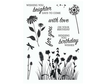 A6 set of photo-polymer clear stamps - FLORAL SILHOUETTES
