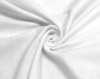 "White Cotton Jersey Lycra Spandex Knit Stretch Fabric 58/60"" wide All colors"