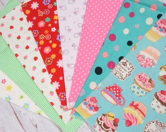 """Girls fabric scrap including floral and strawberry   print 25 cm by 25   cm or 9.6 """" by 9.6""""  set of 8 pieces sc07"""