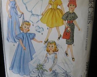 Vintage Doll Clothes Pattern, Copyright 1959, High Heel Dolls, McCall's #2342, Revlon, Toni Sophisticate, Cindy, Missy, Jr. Miss, More
