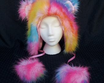Custom Rainbow Furry Hat Fluffy Hood Rave Cosplay Festival EDC | Gifts Under 60 | Gifts for Her | Gifts for Him | Gifts for Kids