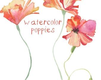 Watercolor Poppy Flower Clipart Flowers Clip Art Digital Clipart Flower Digital Floral Clipart Watercolor Floral Clipart Scrapbooking