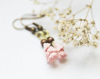 Wild Flower Earrings, Pastel Floral Earrings, Botanical Jewelry, Bohemian Gift, Cute Pink Flower Jewelry