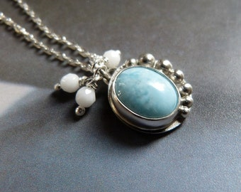 Larimar necklace, silver pendant, white coral, OOAK jewelry, gift for mother, gift for grandmother, birthday present, graduation, for wife