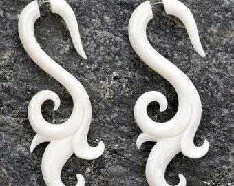 White Bone Tribal Swell Organic Fake Gauges Earrings