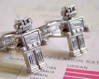 Robot Cufflinks Men's Steampunk Cufflinks Silver Cufflinks Men's Cufflinks The Originals From Cosmic Firefly Las Vegas Silver Plated