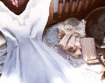 Antique 1800's Victorian Linen Nightgown~Whitework Embroidery~Geometric Openwork