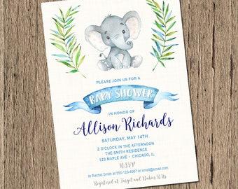 Elephant baby shower invitation boy baby shower invitation, baby elephant, little peanut baby shower invite, watercolor, printable digital