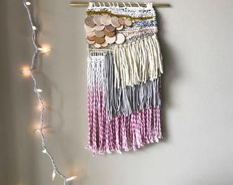 weaving, dip dye wall hanging, woven wall hanging, wood wall hanging, macrame wall decor, wood decor, dip dye tassels, yarn wall hanging