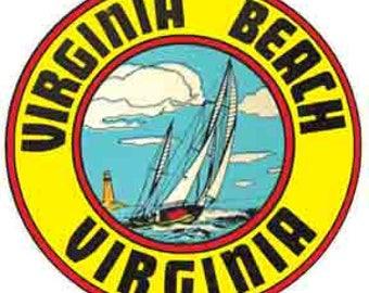 Vintage Style VA  Virginia Beach   Travel Decal sticker