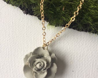 Concrete Rose Pendant Necklace