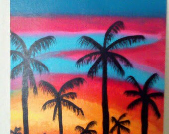 Palm Trees in the Sunset - Handpainted Silhouette Canvas