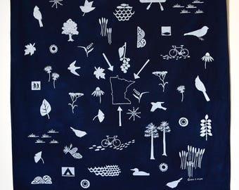 Minnesota Bandana, Hand printed Minnesota Bandana, screen printed blue cotton bandana, Minnesota nature