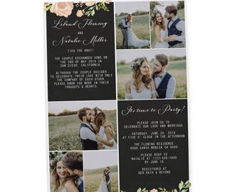 Rustic Elopement Announcement Cards, Add your own photos Wedding Announcement Cards, Printed and  Elopement Announcement Cards 236