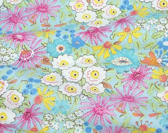 Fat Quarter Sale! - Morning Glory in Pink - from the Meadow Collection by Dena Fishbein for Free Spirit Fabrics