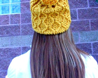 Crochet PATTERN PDF,  Honeycomb Cabled Slouchy Pom Pom Crocheted Hat -Women's hat, teen's beanie - CAN sell items, instant download