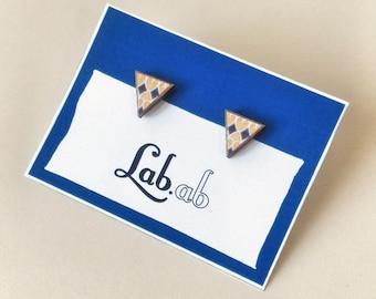 Pow! Walk Like an Egyptian - MINI deco yellow blue - Paper on Wood earrings - stud earrings - triangle