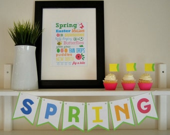 PDF: Spring Printable Bunting & Subway Art - Instant Download