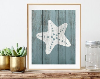 Starfish Decor Print - Rustic Nautical Nursery Art, Ocean Baby, Sailing Art, Beach Bathroom Decor, Coastal Home Decor, Kids Nautical Decor