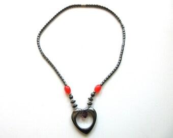Hematite Necklace Heart Pendant 19 inches