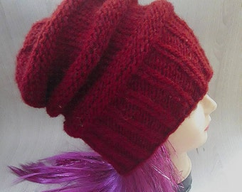 Slouchy/winter hat/hand knit hat/wool hat/womans hat/banie/knit hat/bordeaux hat/handmade knit/hat for winter/cap/woolen hat/